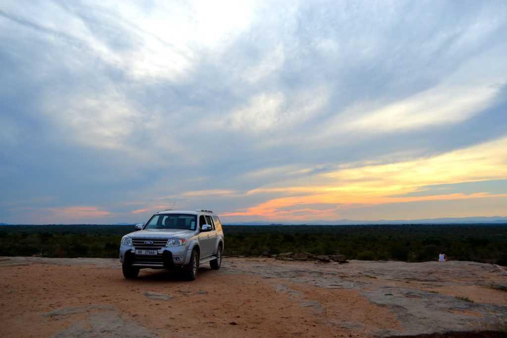 Kruger park safari in Africa at sunset