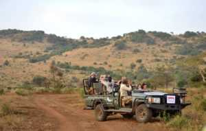 Completely open game drive vehicles are used in the private reserves of the greater Kruger Park