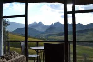 Beautiful views of Cathedral Peak right from your room on the Central Drakensberg Tour